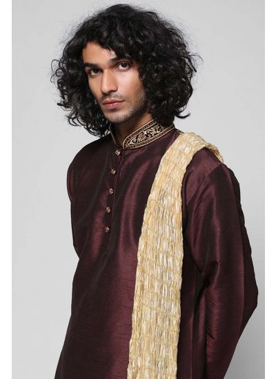 Silk Band Embellished Kurta Set