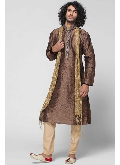 Brocade Ornamented Churidaar Kurta Set