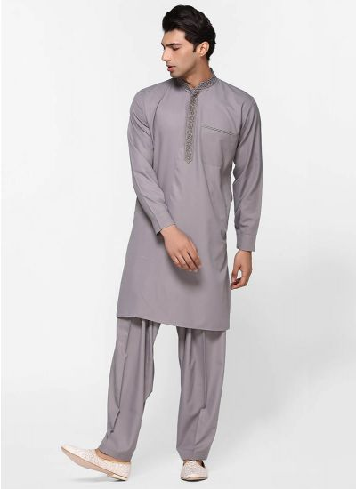 Threaded Grey Salwar Suit