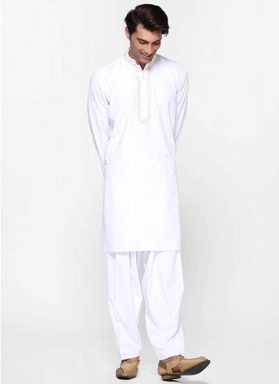 White Threaded Salwar Suit