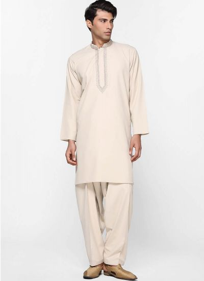 Beige Threaded Kameez Suit