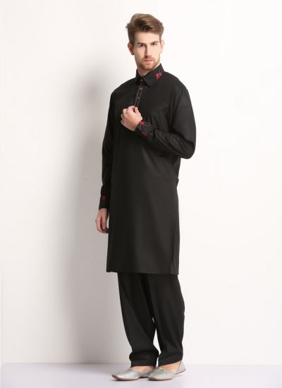 Black & Maroon Collared Kurta Salwar