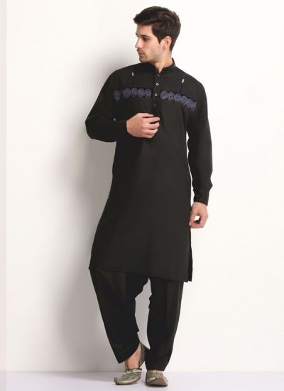 Black Horizontal Patterned Kurta Salwar