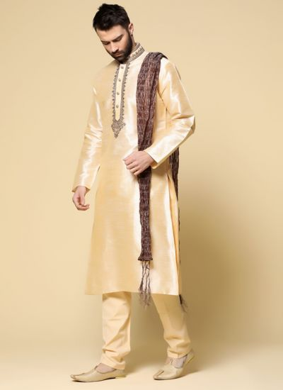 Intricate Gold Kurta Pyjama Set