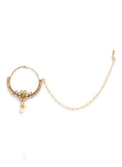 Kundan And Topaz Nose Ring