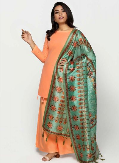 Sea Green Silk Dupatta Set