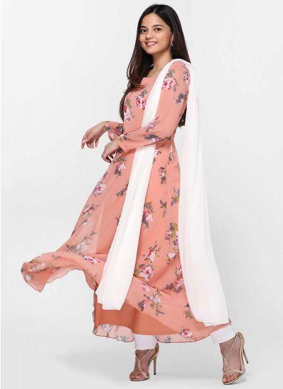 Peach Botanic Flow Dress