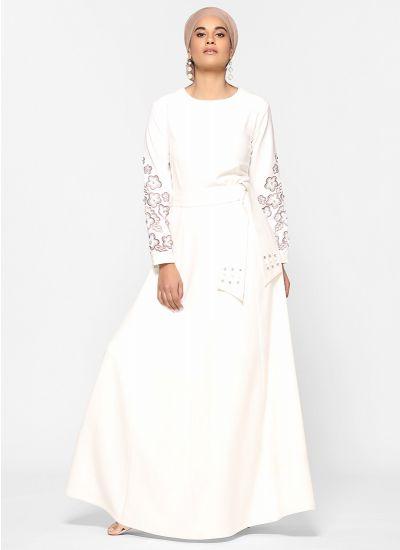 Ivory Pearl Detailed Abaya