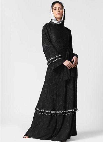 Self Embossed Tassel Abaya
