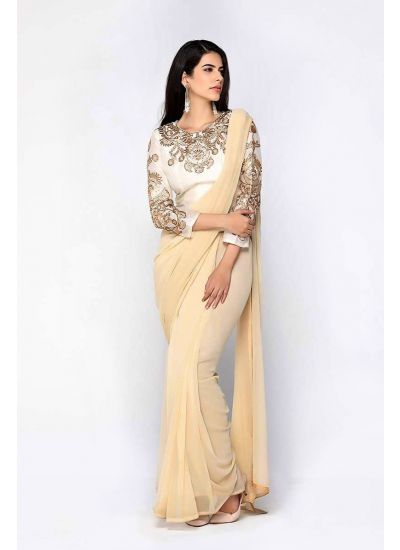 Beige & Ivory Embellished Blouse Saree