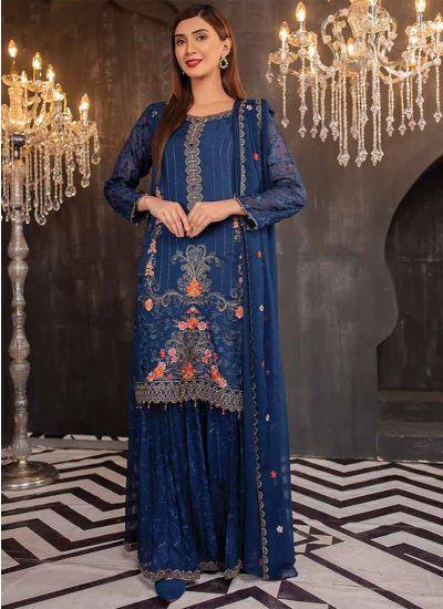 Royal Blue Emroidered Chiffon Sharara Set