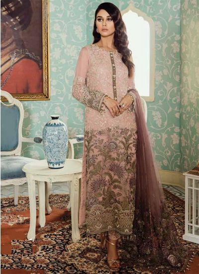 Light Pink Embroidered Chiffon Suit Set