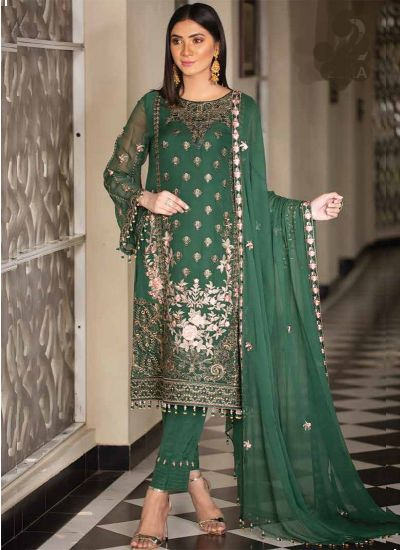 Dark Green Embroidered Chiffon Suit Set