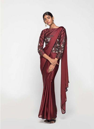 Maroon Chikankari Embellished Saree