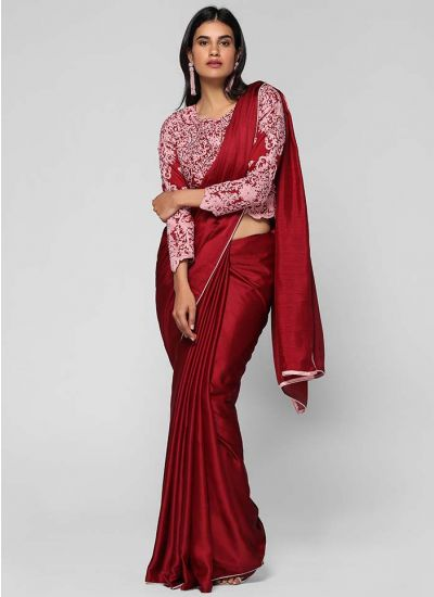 Satin Intricate Embroidered Saree