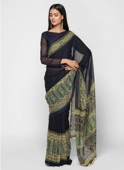 Navy Paisley Floral Printed Border Saree