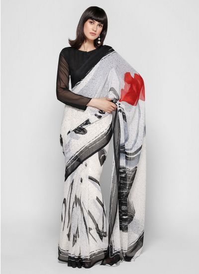 White & Black Marble Print Saree