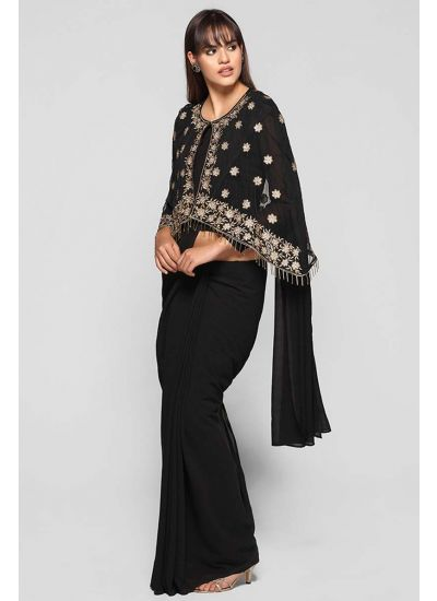 Cape Nalki Embellished Saree