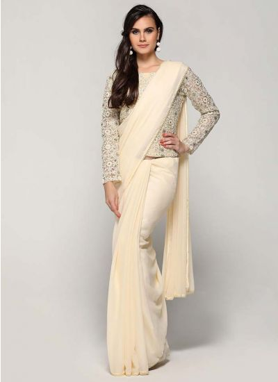 Cream Resham Threaded Pearl Saree