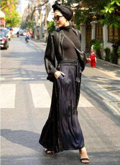 Midnight Satin Cinched Trousers