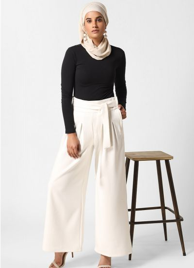 Luxe Ivory Pleated Trousers