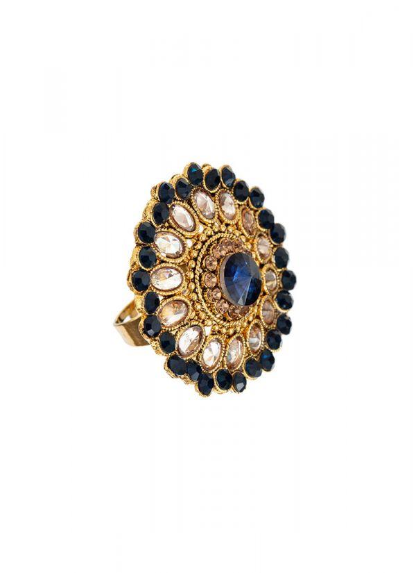 Navy Blue Stonework Ring