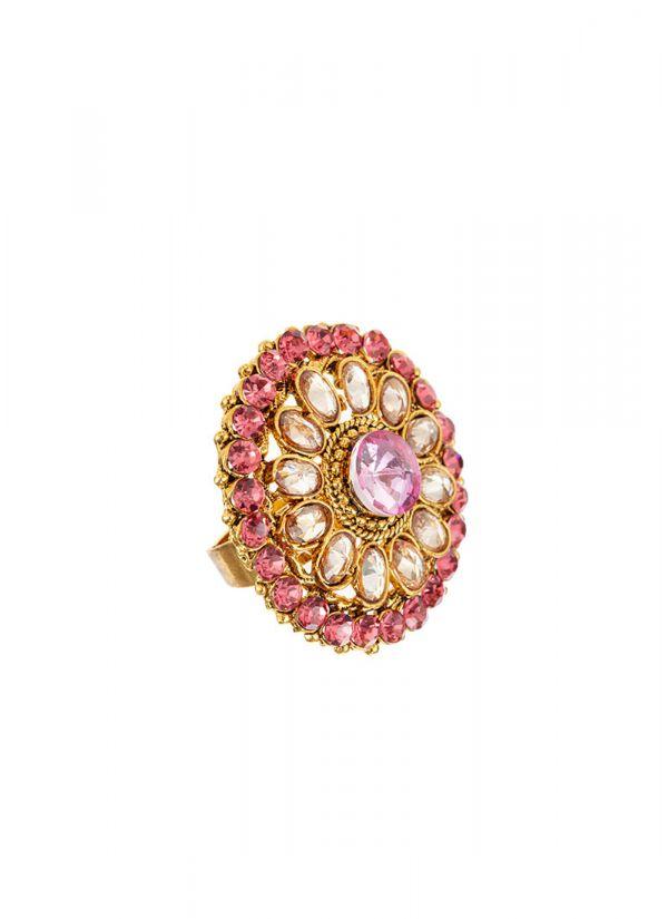 Pink stonework ring