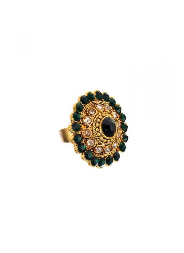 Dark Green Stonework Ring
