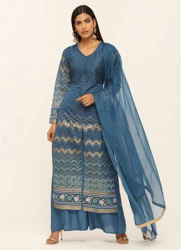 Blue Foil Printed Chanderi Suit Set