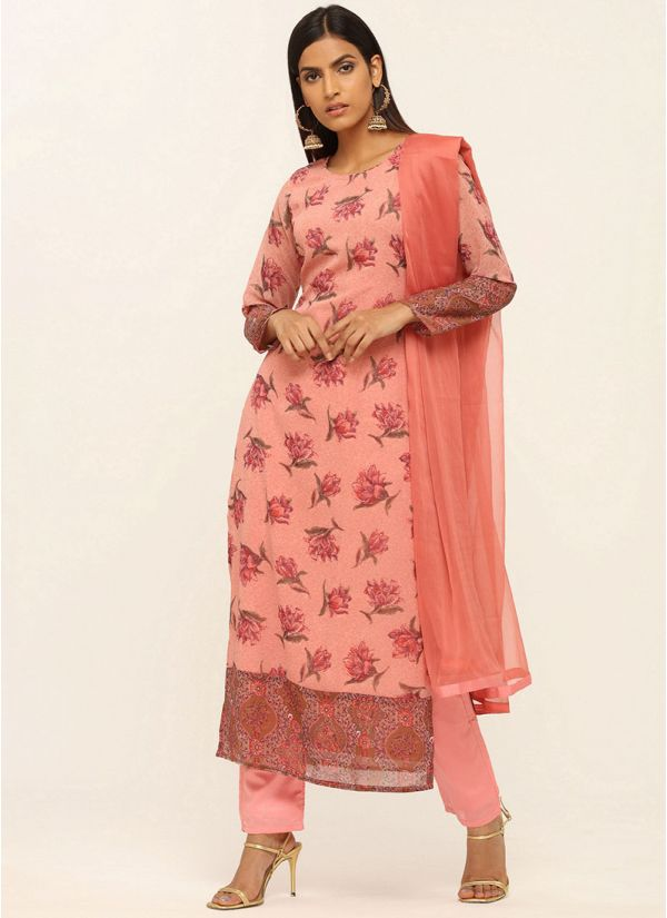 Pink Printed Trouser Suit Set