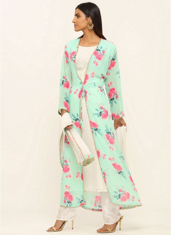 Mint Green Floral Printed Jacket Suit