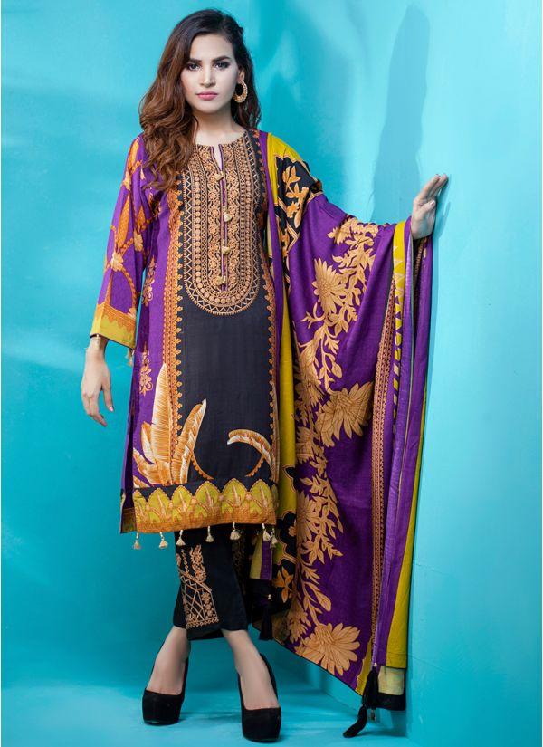 Purple Printed & Embroidered Pakistani Suit