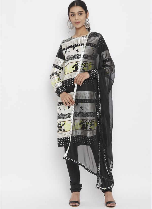 Ivory Printed Satin Suit Set