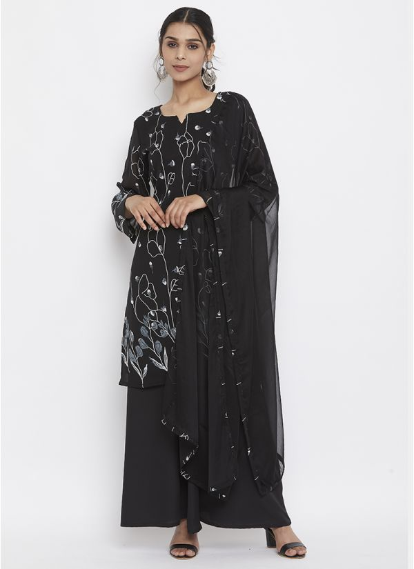 Black Georgette Printed Suit Set