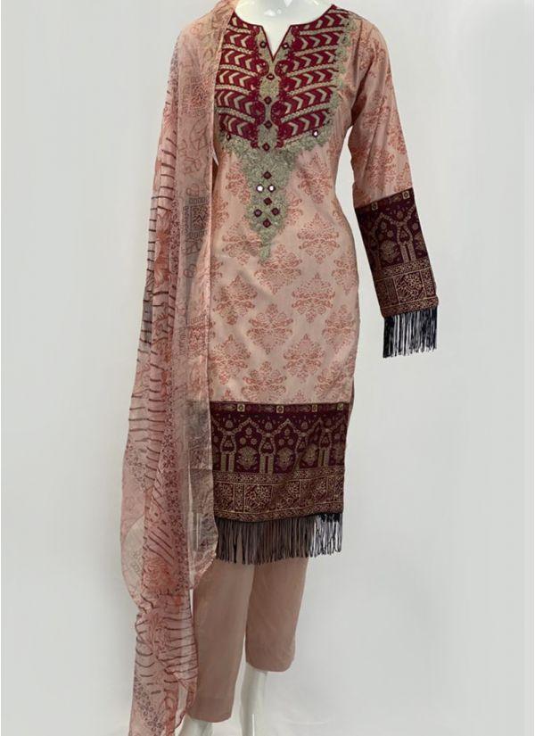 Peach Printed & Embroidered Pakistani Suit