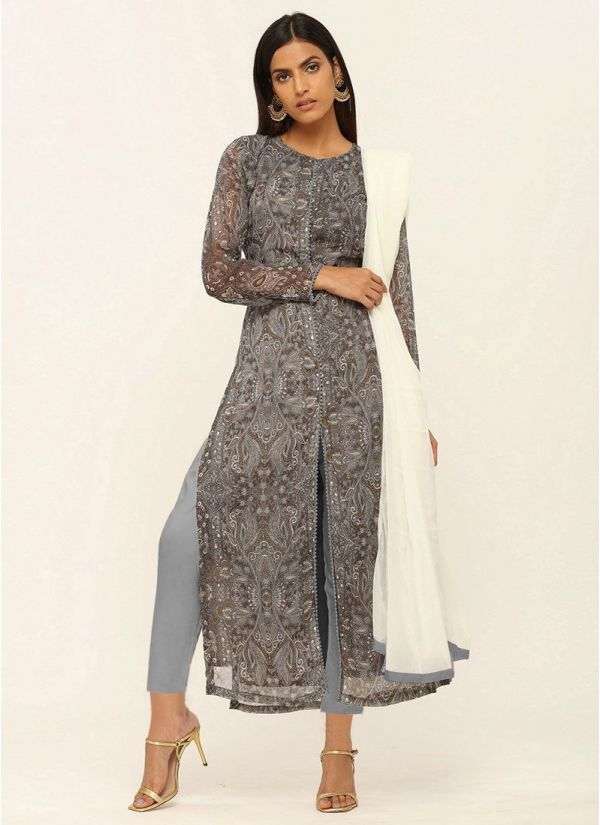 Grey Printed Georgette Straight Cut Suit Set