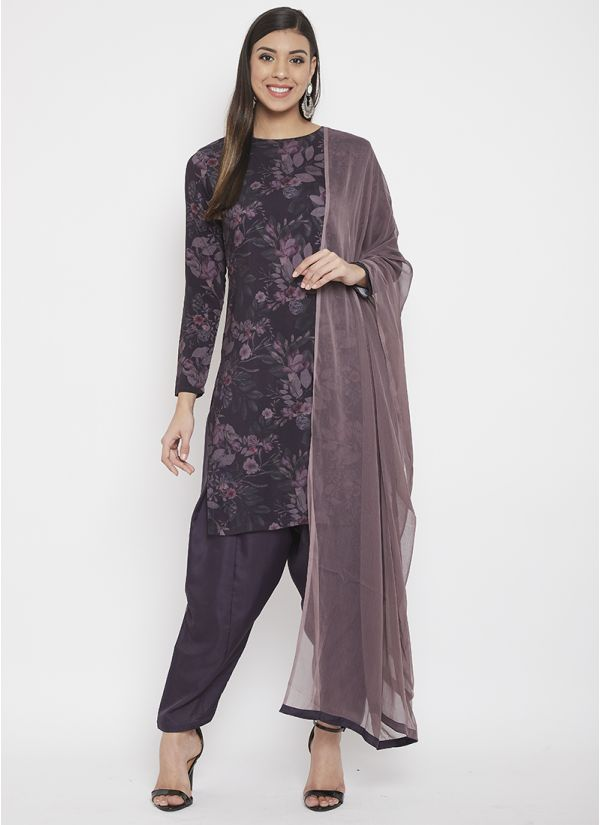 Plum Floral Printed Suit Set