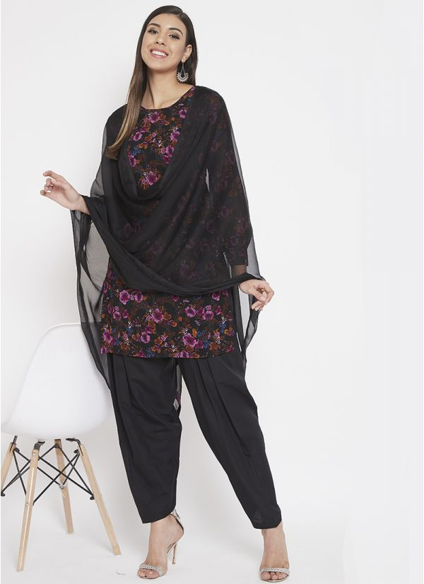 Black Georgette Floral Printed Salwar Suit