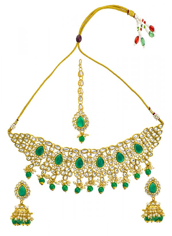 Emerald Stonework Necklace Set
