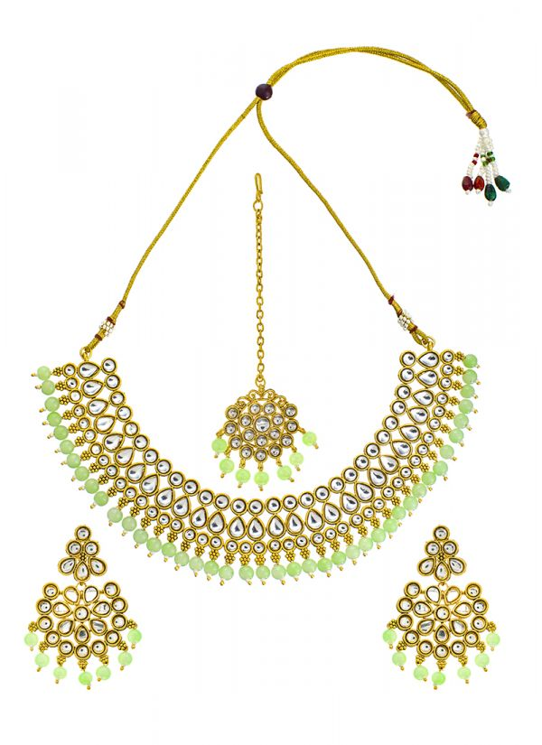 Mint Pearl Kundan Necklace Set