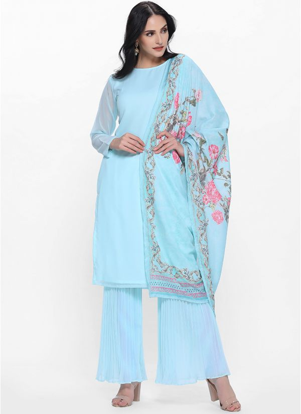 Blue Pleated Gharara Set with Printed Dupatta