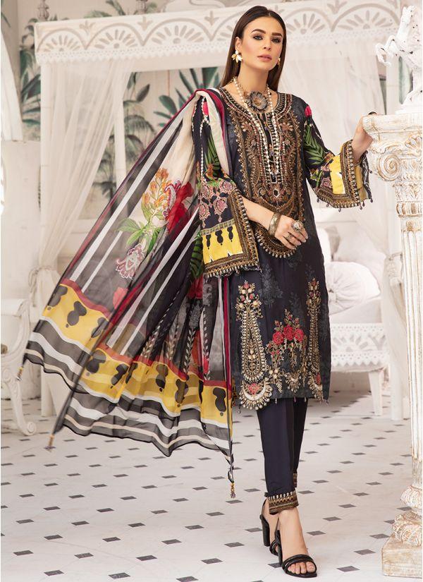 Black Linen Printed Chiffon Dupatta Suit Set