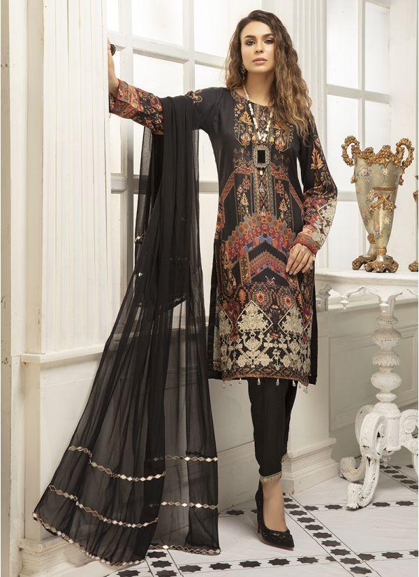 Black Embroidered Linen Suit Set