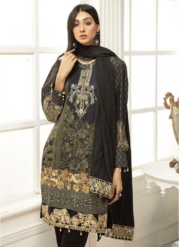 Black Embroidered Bishop Sleeves Linen Suit Set