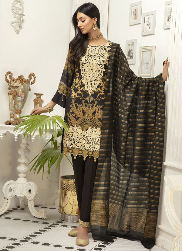 Black Embroidered Linen Suit Set With Stripe Duptta