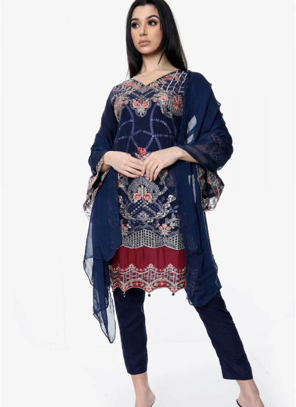 Navy Blue Embroidered Pakistani Suit