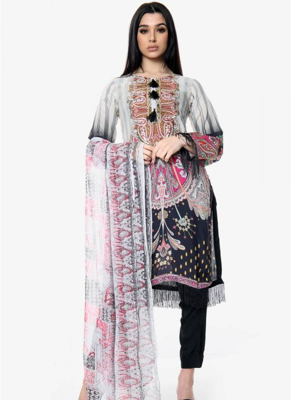Ivory Embroidered Pakistani Suit