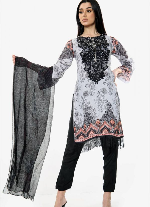 White Embroidered Pakistani Suit