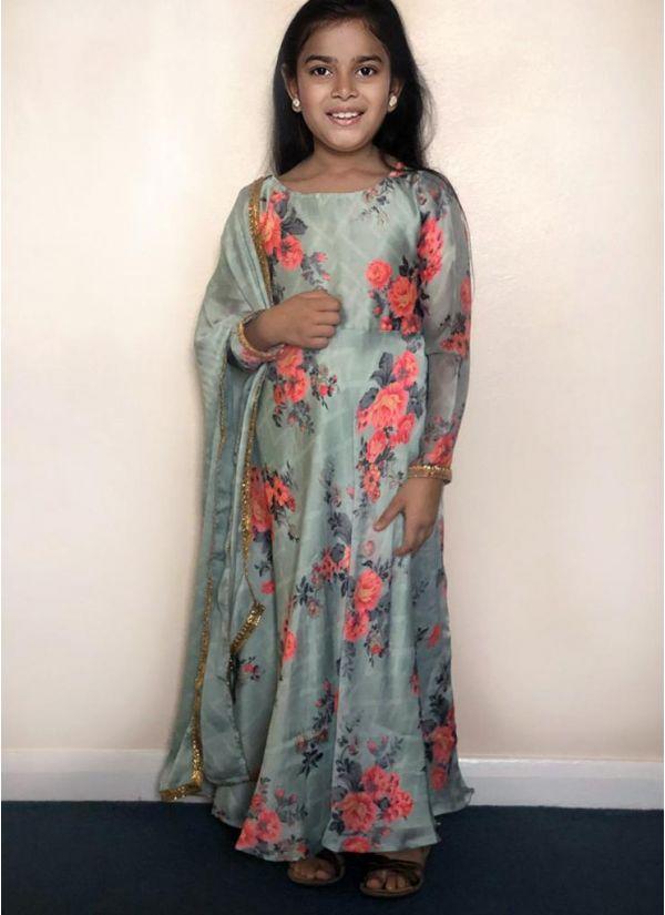Kids Mint Satin Chiffon Flow Dress