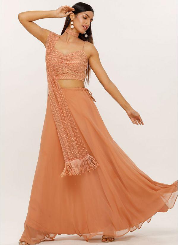 Pink Draped Blouse Georgette Lehenga Set